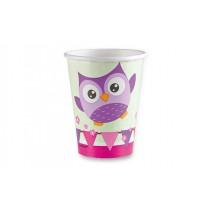 Papírové kelímky Happy Owl objem 0,25 l, 8 ks