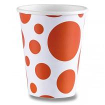 Papírové kelímky Solid Color Dots oranžové