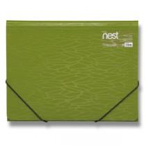 Tříchlopňové desky s gumou FolderMate Nest olivově zelená