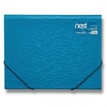 Tříchlopňové desky s gumou FolderMate Nest modrá