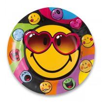 Papírové talířky Smiley průměr 23 cm, 8 ks