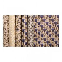Dárkový balicí papír Kraft Blue 2 x 0,7 m, mix motivů