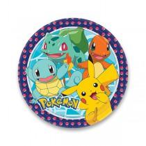 Papírové talířky Pokémon průměr 23 cm, 8 ks