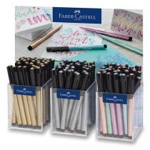 Popisovač Faber-Castell Pitt Artist Pen Metallic stojánek, 90 ks