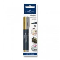 Popisovač Faber-Castell Pitt Artist Pen Metallic zlatá a stříbrná