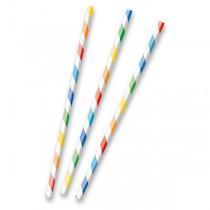 Papírová brčka s proužky základní barvy, 12 ks