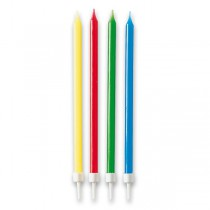 Svíčky narozeninové dlouhé 12 ks, mix barev