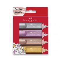 Zvýrazňovač Faber-Castell Textliner 46 Metallic sada 4 barev