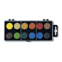 Barvy vodové - 22.5mm černý 12 barev