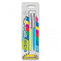 Kuličková tužka Parker Jotter Originals PopArt Duo lime / sky blue,  2 ks
