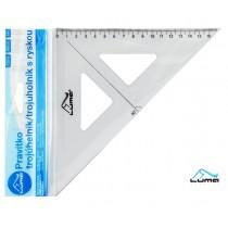 Pravítko trojúhelník s ryskou, transparentní, 16cm