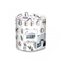 Razítka Creative Stamp Květinová abeceda a věnečky, 39 ks