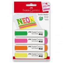 Popisovače na textil Faber-Castell 4 neonové barvy