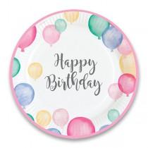 Papírové talířky Happy Birthday průměr 22,8 cm, 8 ks