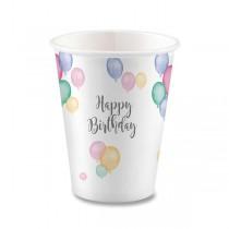 Papírové kelímky Happy Birthday objem 0,25 l, 8 ks
