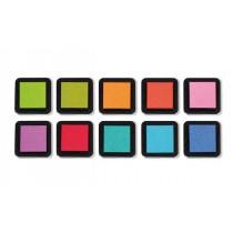 Razítkové barevné polštářky zářivé barvy