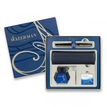 Waterman Expert Metallic Black RT plnicí pero, dárková sada s pouzdrem a inkoustem