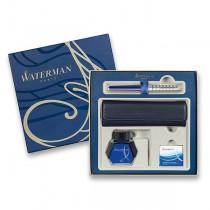 Waterman Hémisphère Deluxe Blue Lounge plnicí pero, dárková sada s pouzdrem a inkoustem