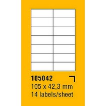 Etikety na archu SOREX - A4, 105 x 42,3mm, 1400 etiket