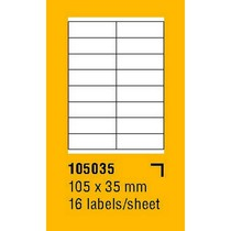 Etikety na archu SOREX - A4, 105 x 35mm, 1600 etiket