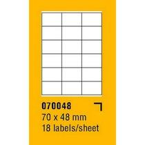 Etikety na archu SOREX - A4, 70 x 48mm, 1800 etiket