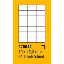 Etikety na archu SOREX - A4, 70 x 42,3mm, 2100 etiket