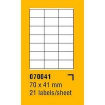 Etikety na archu SOREX - A4, 70 x 41mm, 2100 etiket