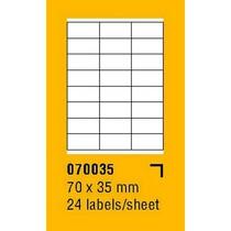 Etikety na archu SOREX - A4, 70 x 35mm, 2400 etiket