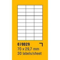 Etikety na archu SOREX - A4, 70 x 29,7mm, 3000 etiket