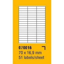 Etikety na archu SOREX - A4, 70 x 16,9mm, 5100 etiket