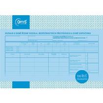Záznam o době řízení vozidla a bezpeč. přestávkách A4, číslovaný, 100 listů