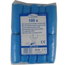 Jednorázové návleky na obuv modré CPE, 40 x 14 cm, 100ks