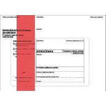 DORUČENKA červená B6, správní řád, vlhčicí